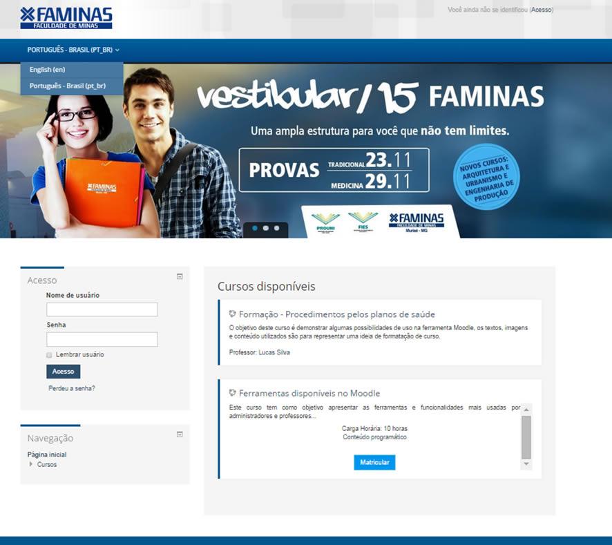 moodle customização Universidade Faminas