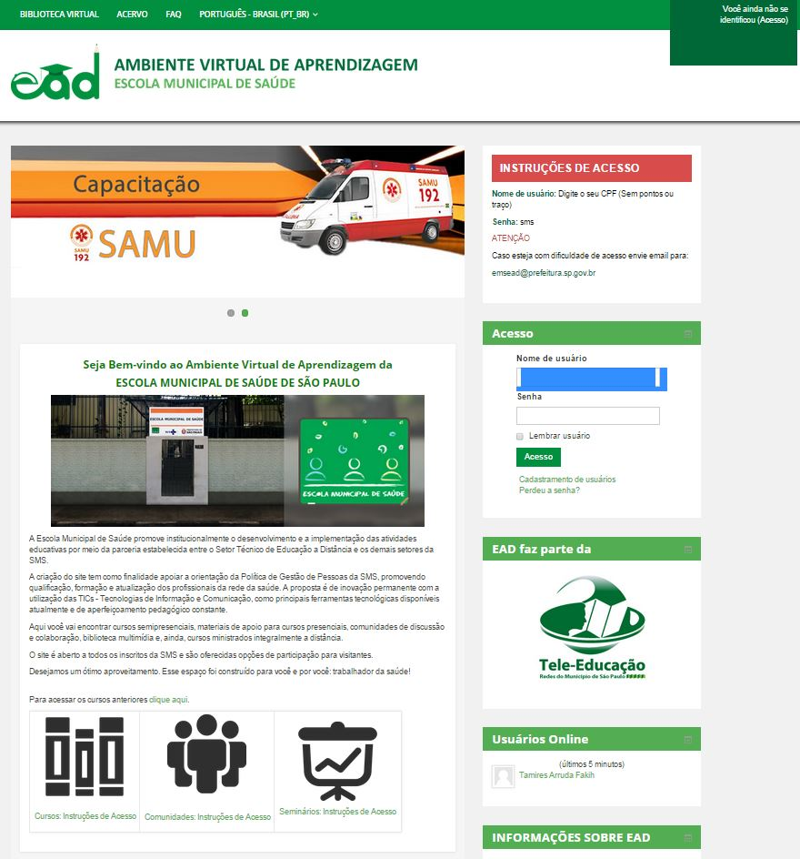 Moodle Customização Escola Municipal de Saúde da Cidade de São Paulo