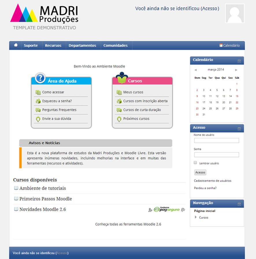 moodle customização Madri Produções