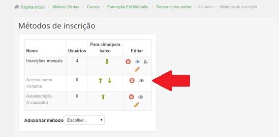 Como configurar um curso para acesso de visitantes no Moodle