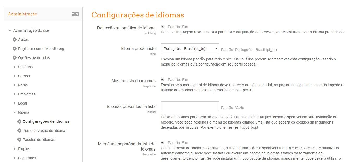 Como ocultar a escolha de idiomas no moodle